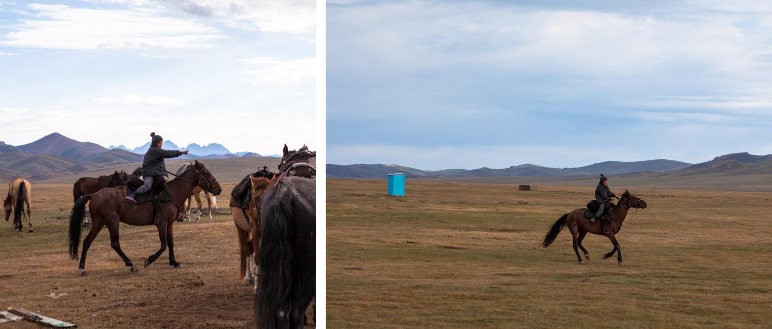 cavalli sul lago Song Kul
