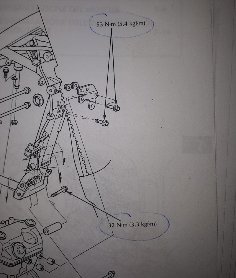 misure del motore sul telaio